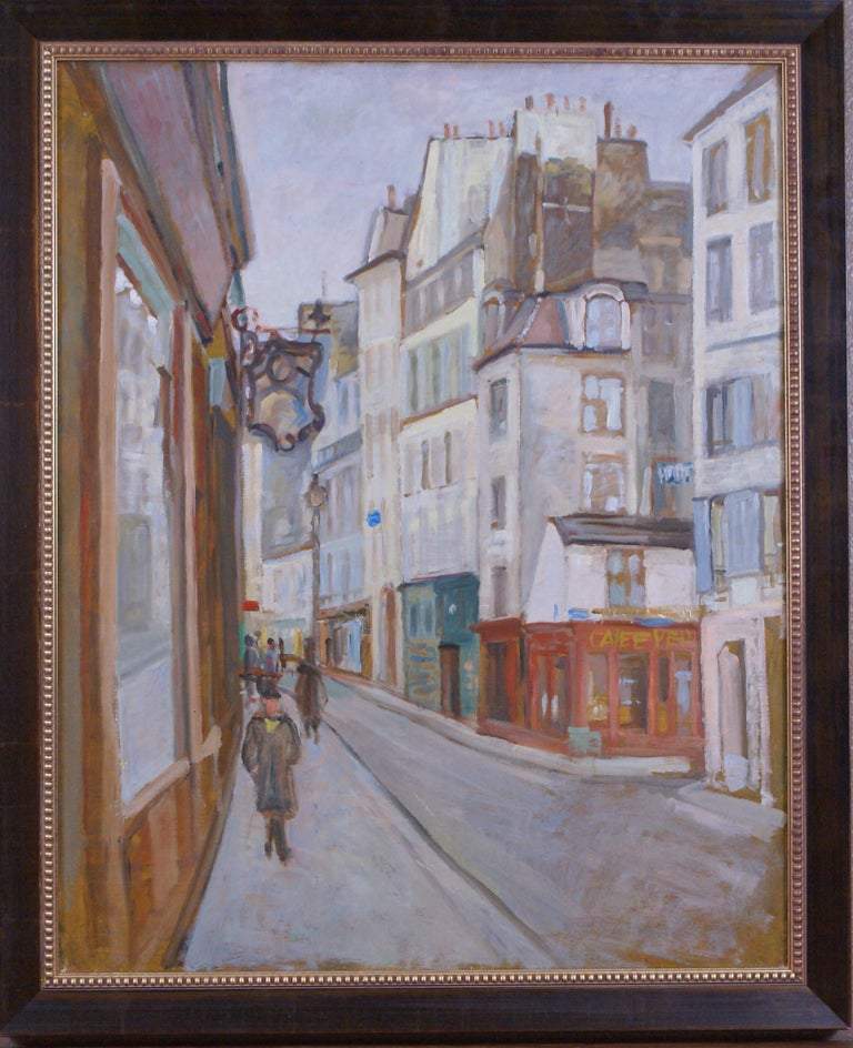 Oil on canvas of a city street scene with a red cafe. Canvas measures 31 3/4 x 25 3/4; frame dimensions measure 35 1/2 x 29 1/2 x 1 1/4. Housed in a deep-chestnut colored wooden frame with gold-tone beading.