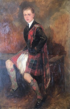 The Scottish Gentlemen, Large Impressionist Portrait, Signed Oil Painting
