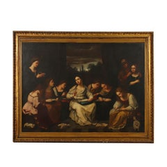 The Sewing School Oil On Canvas 18th 19th Century
