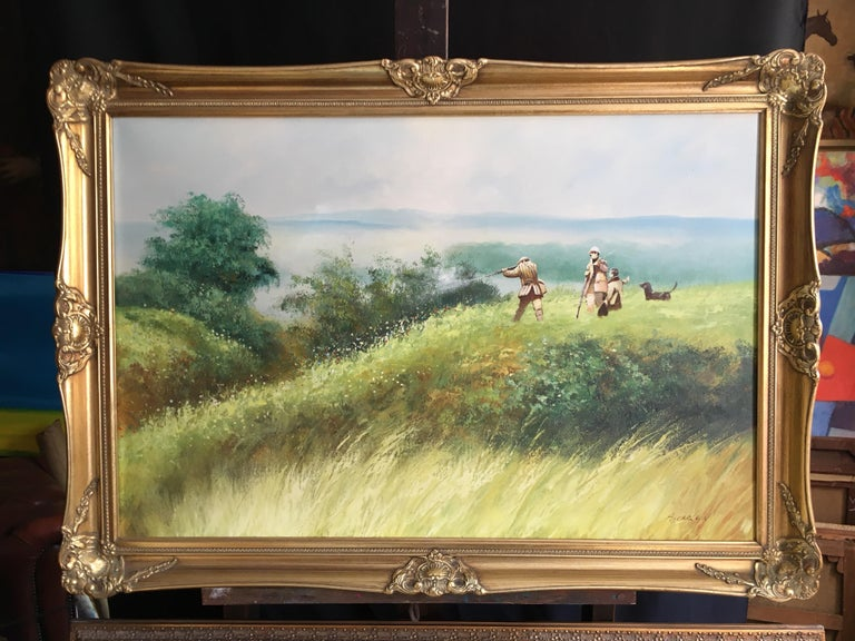 The Shooting Party - Large Signed Oil Painting - Beige Landscape Painting by Unknown