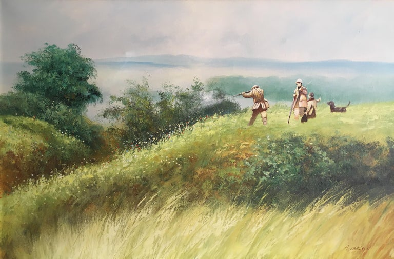 Unknown Landscape Painting - The Shooting Party - Large Signed Oil Painting