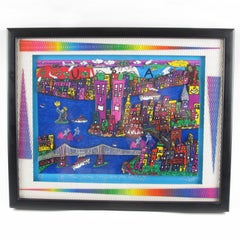 The Way We Were 1973-2001 New York Cityscape Colorful 3D Art Collage Painting