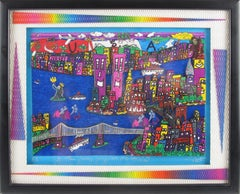 The Way We Were, 1973-2001 New York Cityscape Colorful 3D Art Collage Painting