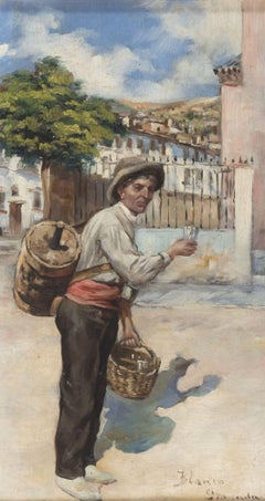 "The Wine Seller - Oil on Wooden Panel signed ""Blanco Granada"" - 19th Century"