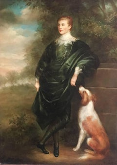 The Young Aristocrat and His Pet Dog, Signed Oil Painting