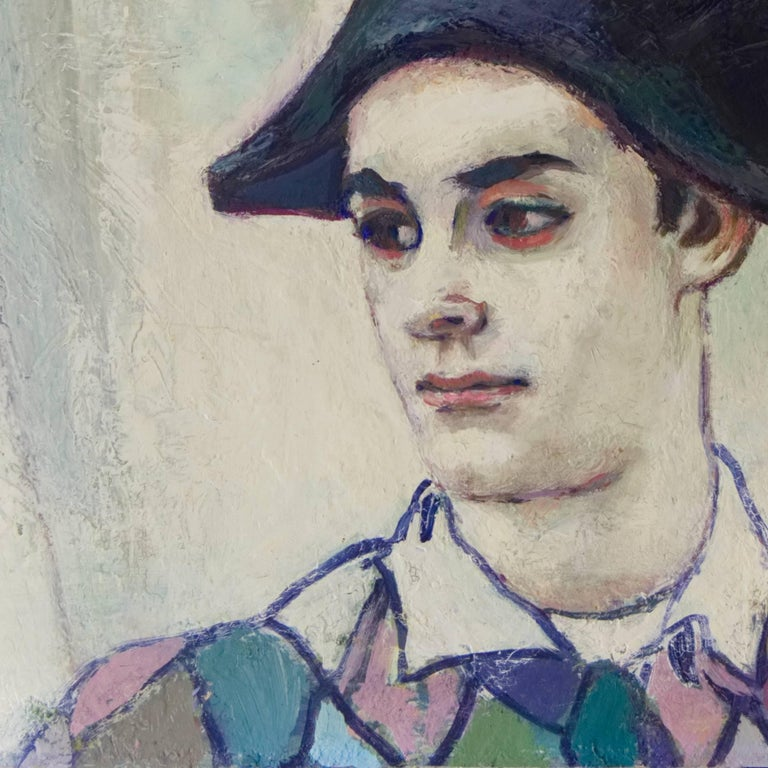 The Young Harlequin - Post-Impressionist Painting by Unknown