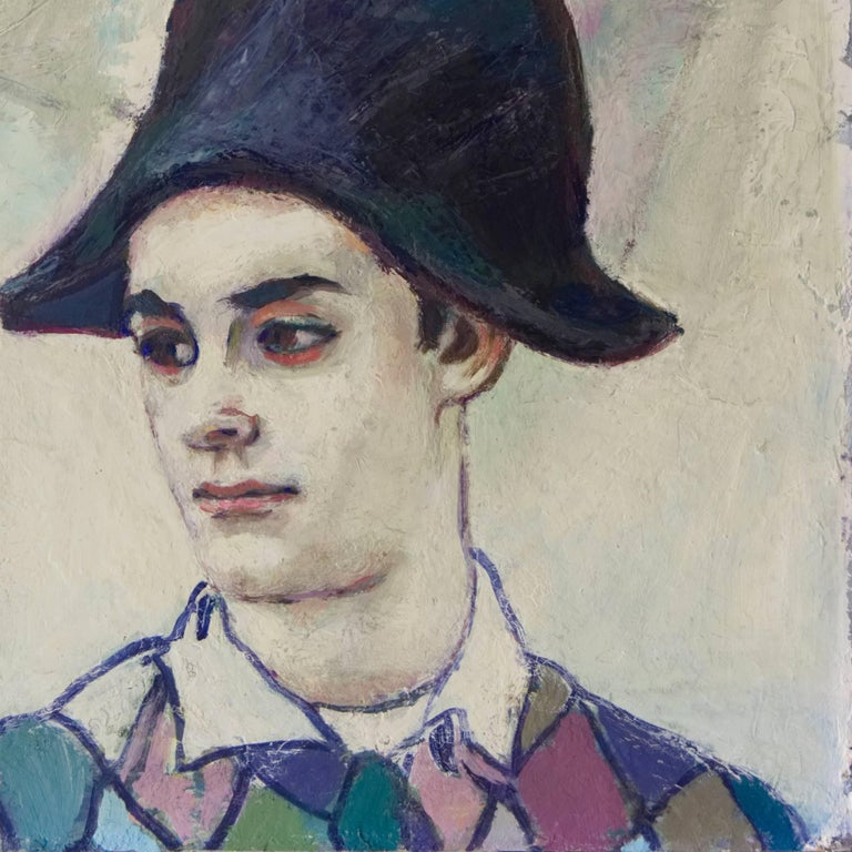The Young Harlequin - Gray Figurative Painting by Unknown