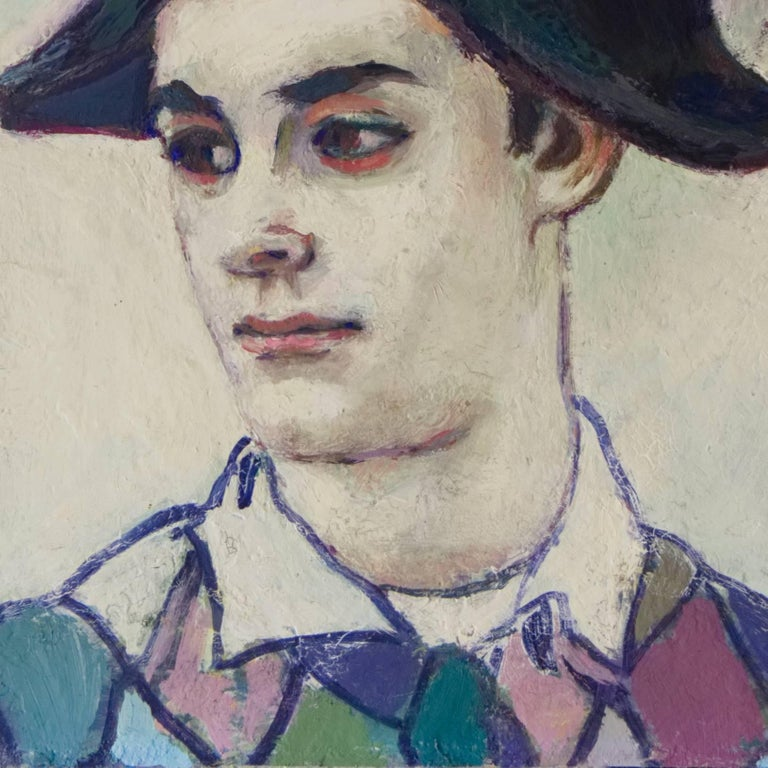 A dramatic and psychologically penetrating American school portrait showing a young man dressed as a harlequin and gazing contemplatively away from the viewer. The subject's striking features and multicolored costume contrast boldly against the