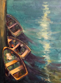 Three Boats, Plein Air Nautical Original Fine Art Oil on Cotton Canvas