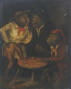 Three Monkeys Gambling 19th Century Oil Painting