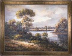 "(Title Unknown) Landscape. Framed Oil on Canvas. Signed ""Daniel H."""