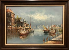 (Title Unknown-Nautical) Acrylic Painting on Canvas, Framed