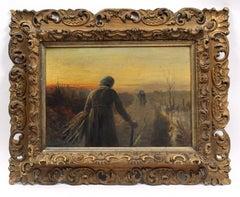 Tonalist Painting Sunset Figures Wheat Barbizon Framed 19th Century Oil Painting