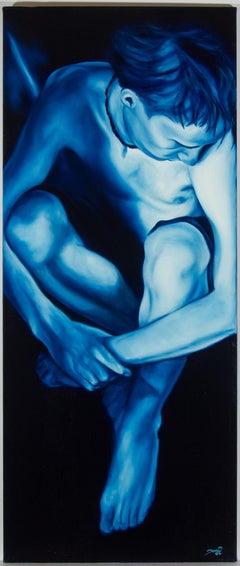 Toni - Signed 2004 Oil, Portrait in Blue
