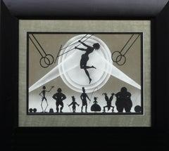 Mid Century Trapeze Artist Circus Silhouette