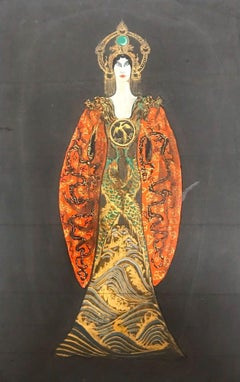 Turandot's Costume Draft - Original Tempera - 1930s
