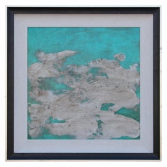 Turquoise and White Textured Abstract Oil Painting