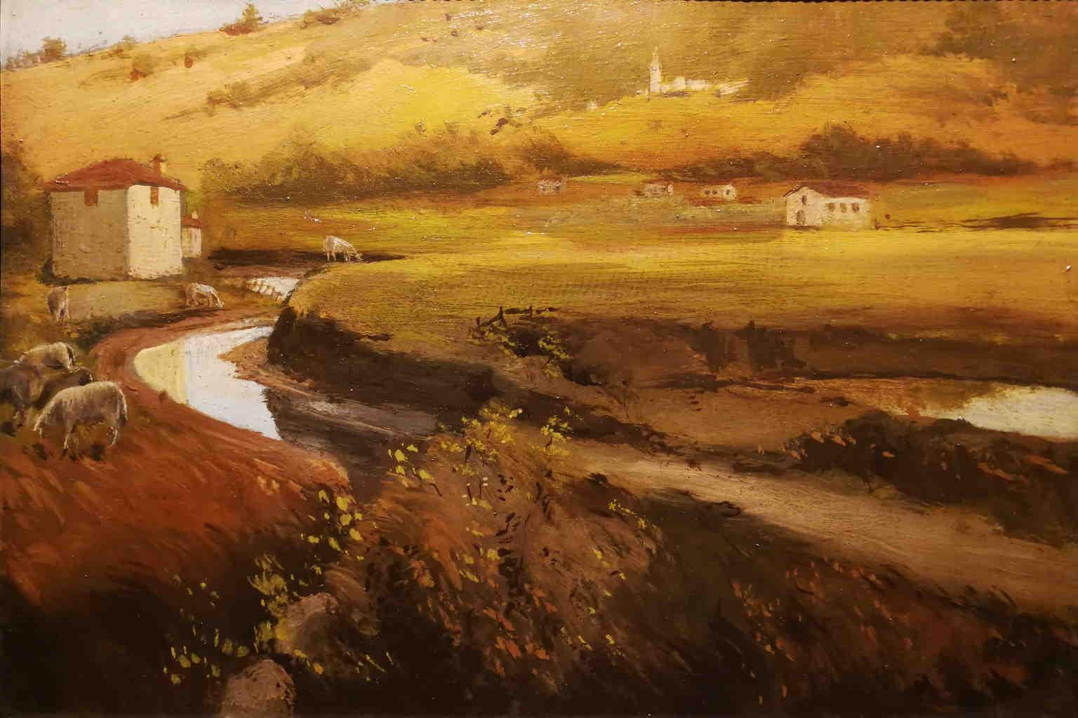 Two Tuscan Countryside Landscape Painting 20 century oil cardboard