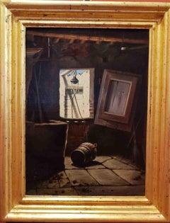 Tuscany Macchiaiolo Interior Wells Painting 20 century oil canvas
