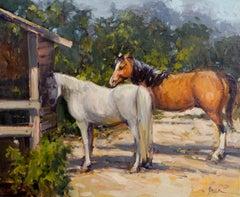 Two Horses, Plein Air Realism Original Fine Art Oil on Linen Canvas