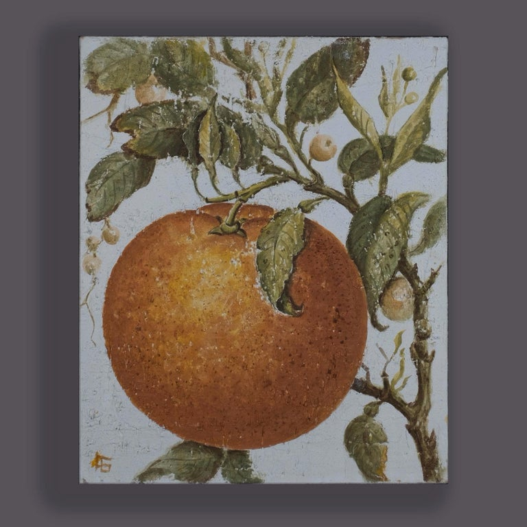 Two Oils on Canvas – A Stylised Orange and Lemon - Naturalistic Art by Unknown