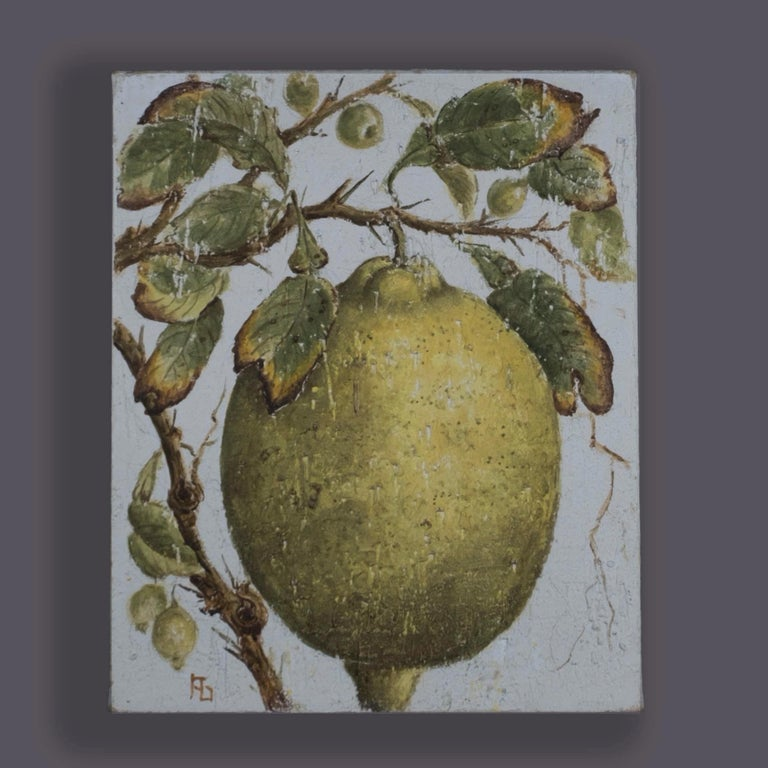 Two twentieth century oils, depicting an orange and a lemon with foliage, painted in a stylised manner, imitating Renaissance fresco work.  Unframed. Dimensions listed are for each individual picture.