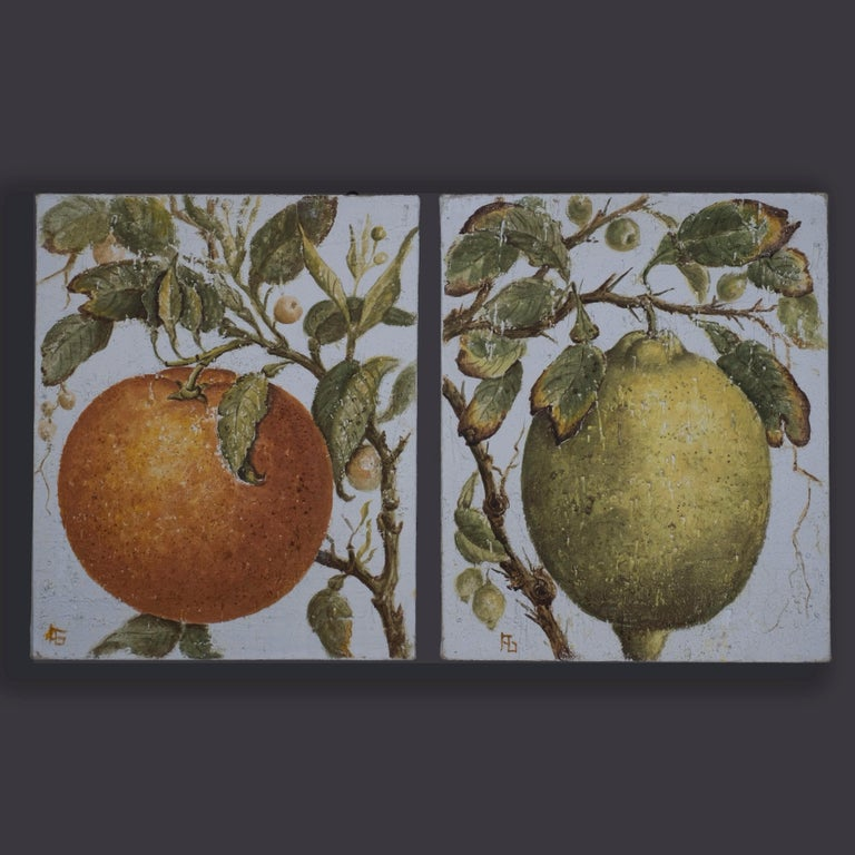 Two Oils on Canvas – A Stylised Orange and Lemon - Art by Unknown