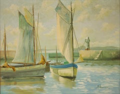 Two Sailboats with Lighthouse