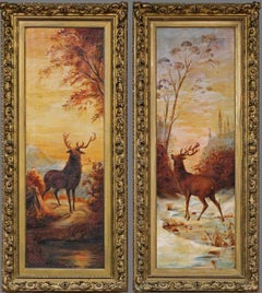 Two Stags in Winter Landscape, Twilight Oil on Canvas, Dated 1912