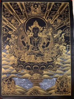 Unframed Hand Painted Chenrezig Thangka on Canvas with 24K Gold