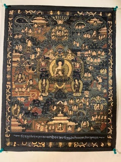 Unframed Hand Painted History Buddha Thangka on Canvas with 24K Gold