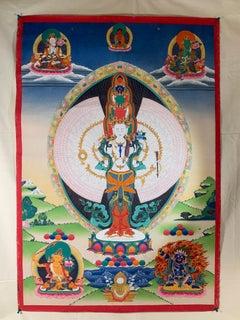 Unframed Hand Painted Thousand-armed Avalokitesvara Thangka on Canvas with Gold