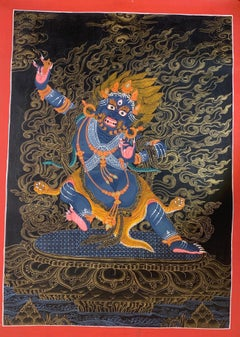 Unframed Hand Painted Vajrapani Thangka on Canvas with Real 24K Gold