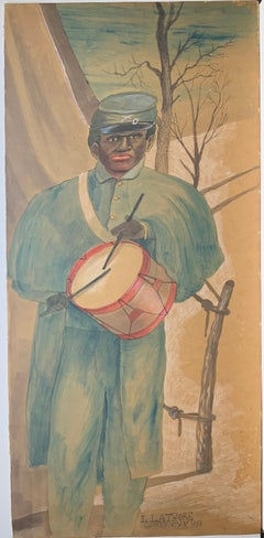 Union Army Civil War drummer soldier folk art painting