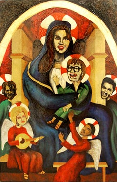 unknown folk artist; All the Saints; oil and mixed medium on canvas