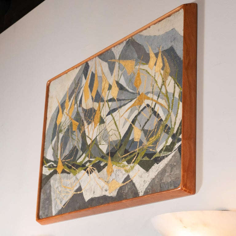 This refined Mid Century Modern abstract painting was realized in the United States, circa 1960. A collection of wheat colored tendrils attached to kite-like forms spring up against a background mosaic of geometric forms in grisaille tones. There is