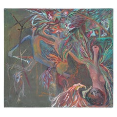 Untitled Surrealist Abstract Figurative Expressionist Style Painting