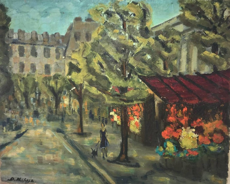 Unknown Landscape Painting - Untitled: View Of A City Street