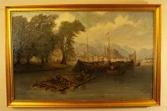 Venetian River Scene 18th Century Italian School  Oil on Canvas Unknown Artist