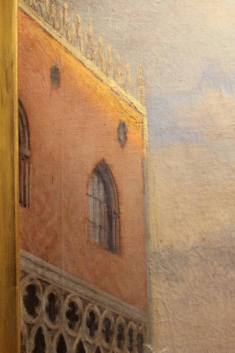 Venice Landscape Italian Oil on Canvas Painting in Gilt Wood Frame, Belle Epoque For Sale 7