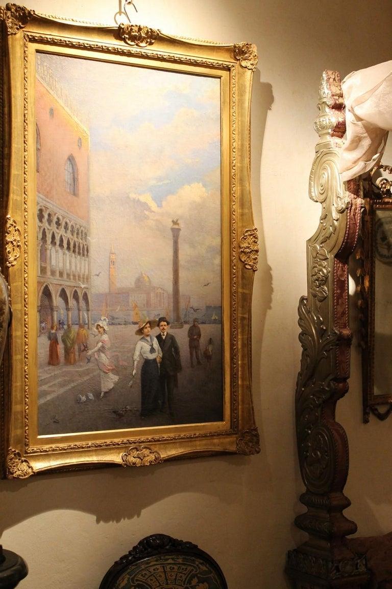 Venice Landscape Italian Oil on Canvas Painting in Gilt Wood Frame, Belle Epoque For Sale 8