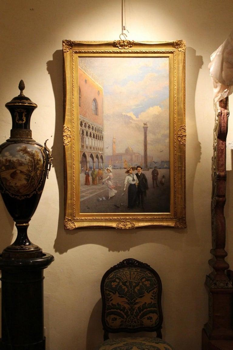 Venice Landscape Italian Oil on Canvas Painting in Gilt Wood Frame, Belle Epoque For Sale 9