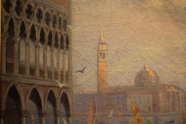 Venice Landscape Italian Oil on Canvas Painting in Gilt Wood Frame, Belle Epoque For Sale 10
