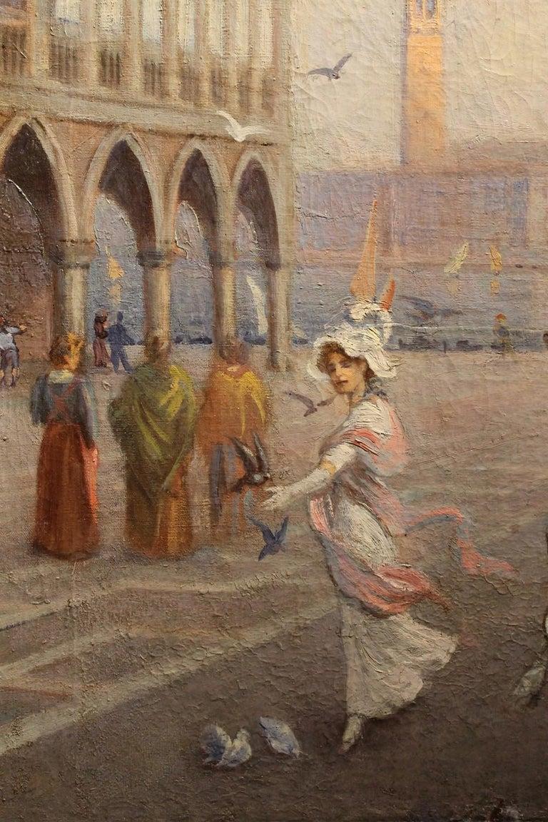 Venice Landscape Italian Oil on Canvas Painting in Gilt Wood Frame, Belle Epoque For Sale 2