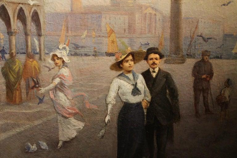 Venice Landscape Italian Oil on Canvas Painting in Gilt Wood Frame, Belle Epoque For Sale 3