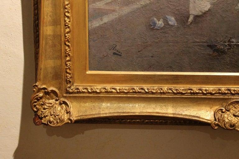 Venice Landscape Italian Oil on Canvas Painting in Gilt Wood Frame, Belle Epoque For Sale 4