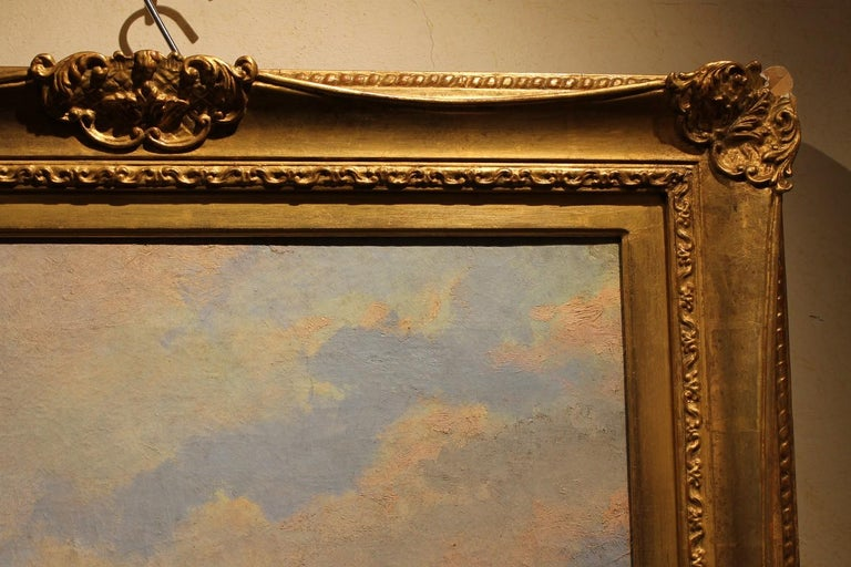 Venice Landscape Italian Oil on Canvas Painting in Gilt Wood Frame, Belle Epoque For Sale 5