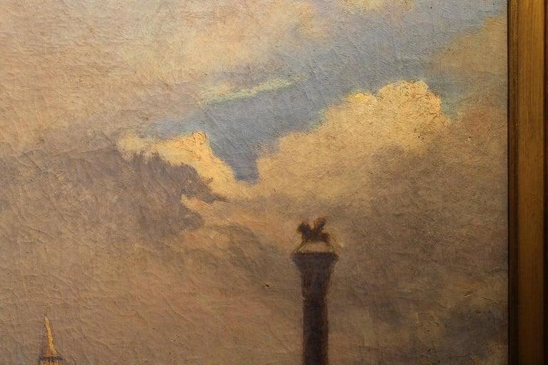 Venice Landscape Italian Oil on Canvas Painting in Gilt Wood Frame, Belle Epoque For Sale 6