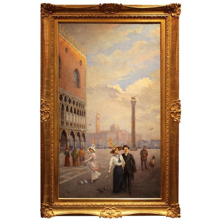 Venice Landscape Italian Oil on Canvas Painting in Gilt Wood Frame, Belle Epoque