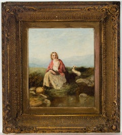 Very Fine English 19th Century Oil - Young Lady with Lambs